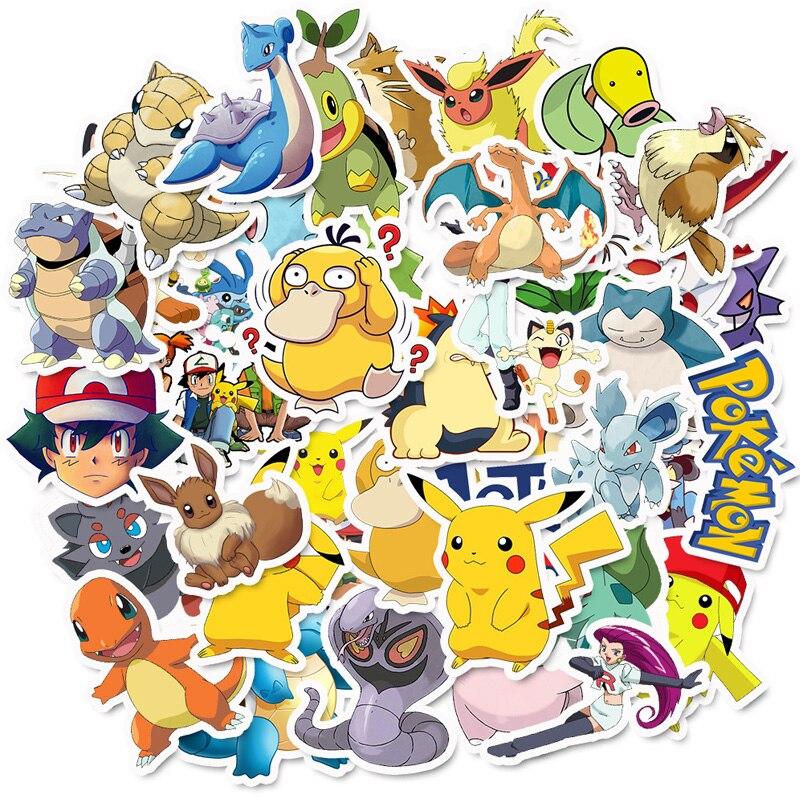 50 Pcs Takara Tomy Pokemons Stickers For Luggage Skateboard Phone Laptop Moto Bicycle Wall Guitar Sticker DIY Waterproof Sticker