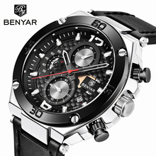 New Watch Men BENYAR Quartz Chronograph Military Mens Watches Top Brand Luxury Clock Men Watch Leather Strap Relojes Hombre 2019