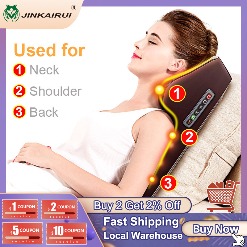 Jinkairui Neck Massager Car Home Cervical Shiatsu Massage Neck Back Waist Body Electric Multifunctional Massage Pillow Cushion|Massage Cushion| - AliExpress
