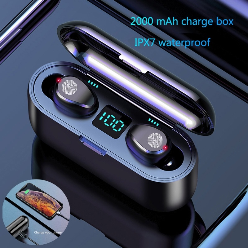 Bluetooth V5.0 TWS Fingerprint Touch Bluetooth Earphones 2000mAh HD Stereo Wireless Headphones Noise Cancelling Gaming Headset