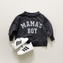 Loose Infant Kids Baby Boys Girls Sweatershirt, Long Sleeve Round Neck Lettering Sweatershirt for Autumn Early Winter 6M-4T