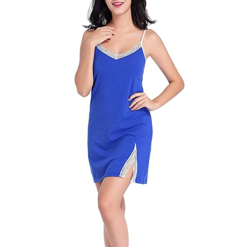 Women  Nightdress Imitation Silk Night Sleep Dress Nighties For Women Lingerie Sling Lace V-Neck Sexy Sleep Dress