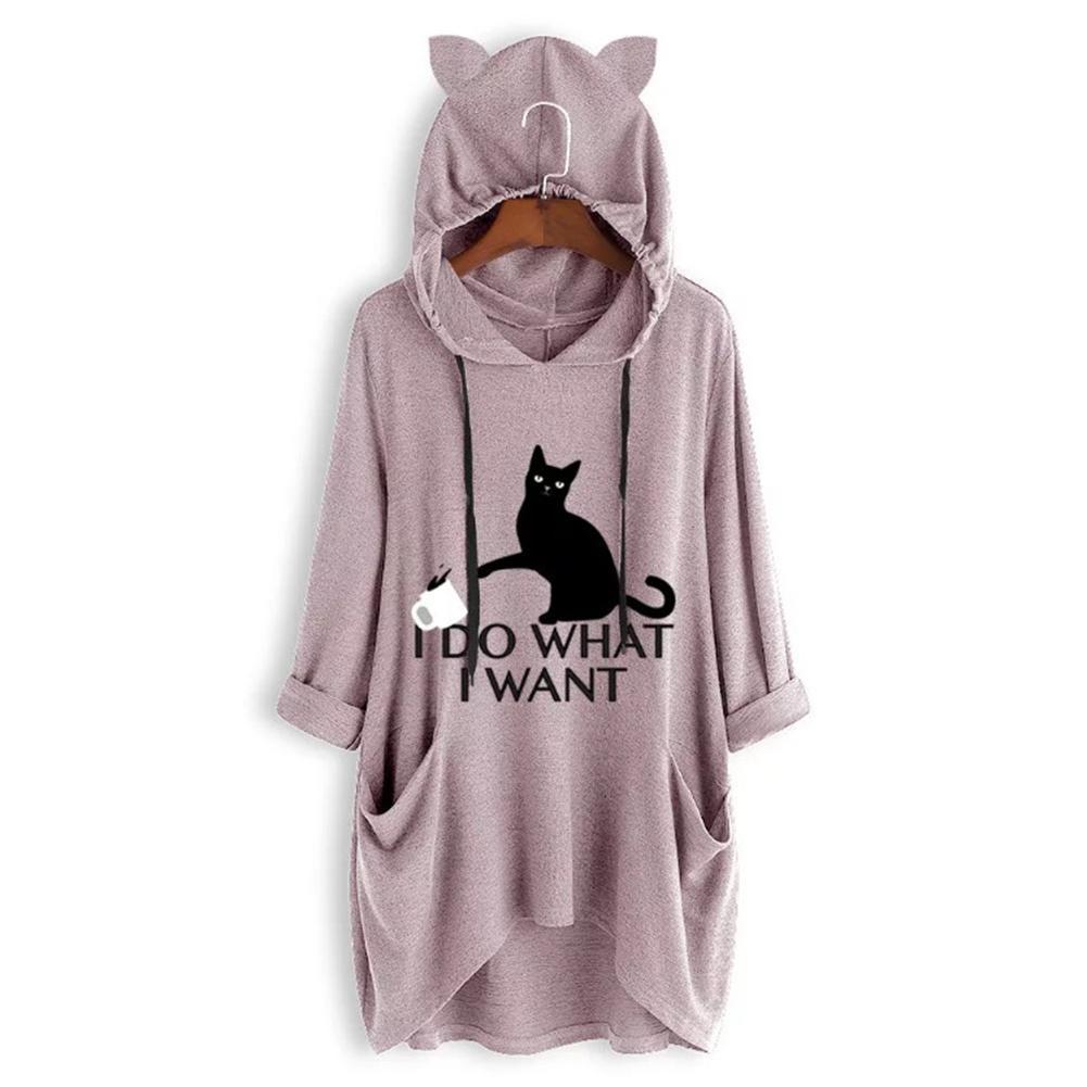 New Kawaii Cartoon Cat Ears Hooded Sweatshirt Women Long Sleeve Tunic Hoodies Top