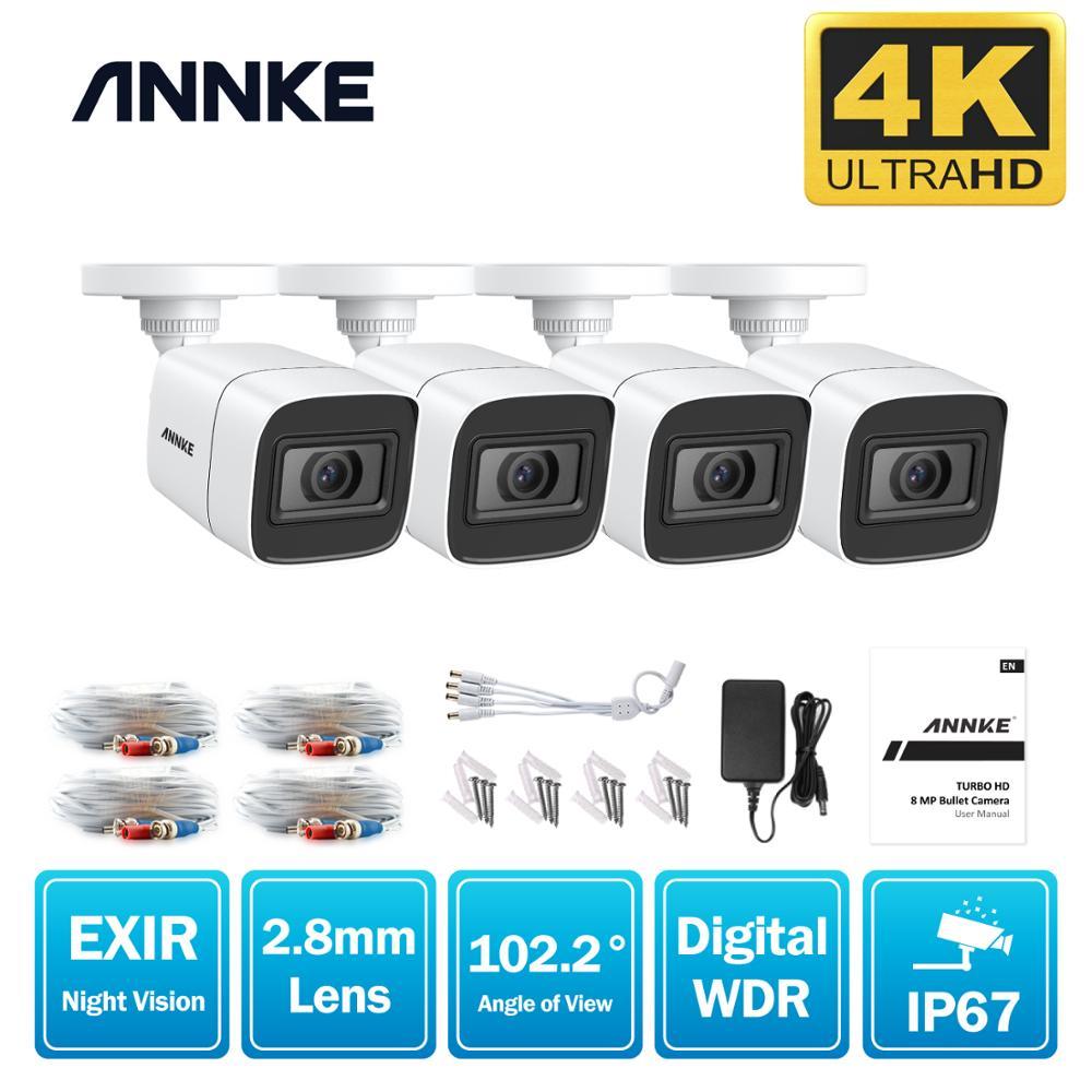 ANNKE 4X Ultra HD 8MP cámara CCTV TVI al aire libre a prueba de intemperie 4K Video vigilancia de seguridad Kit con EXIR visión nocturna alerta de correo electrónico