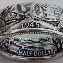 US Walking Half Dollar Ring '1945'Handmade Silver Plated Coin Ring In Sizes 6-14