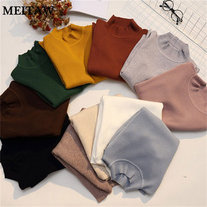 Women High Elasticity Knitted Sweaters Autumn Winter Slim Pullovers Sweaters 2020 Lady Turtleneck Jumper Korean Tops