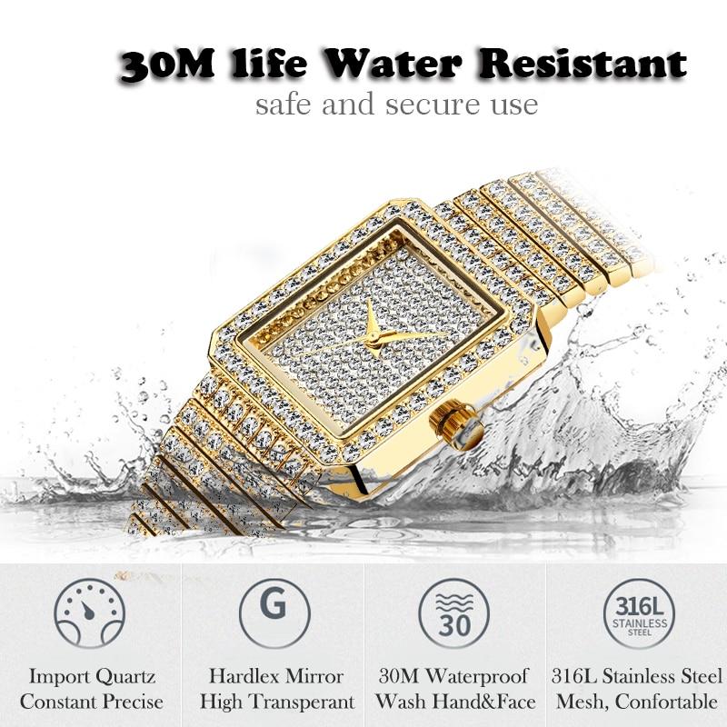 MISSFOX Diamond Watch For Women Luxury Brand Ladies Gold Square Watch Minimalist Analog Quartz Movt Unique Female Iced Out Watch 4