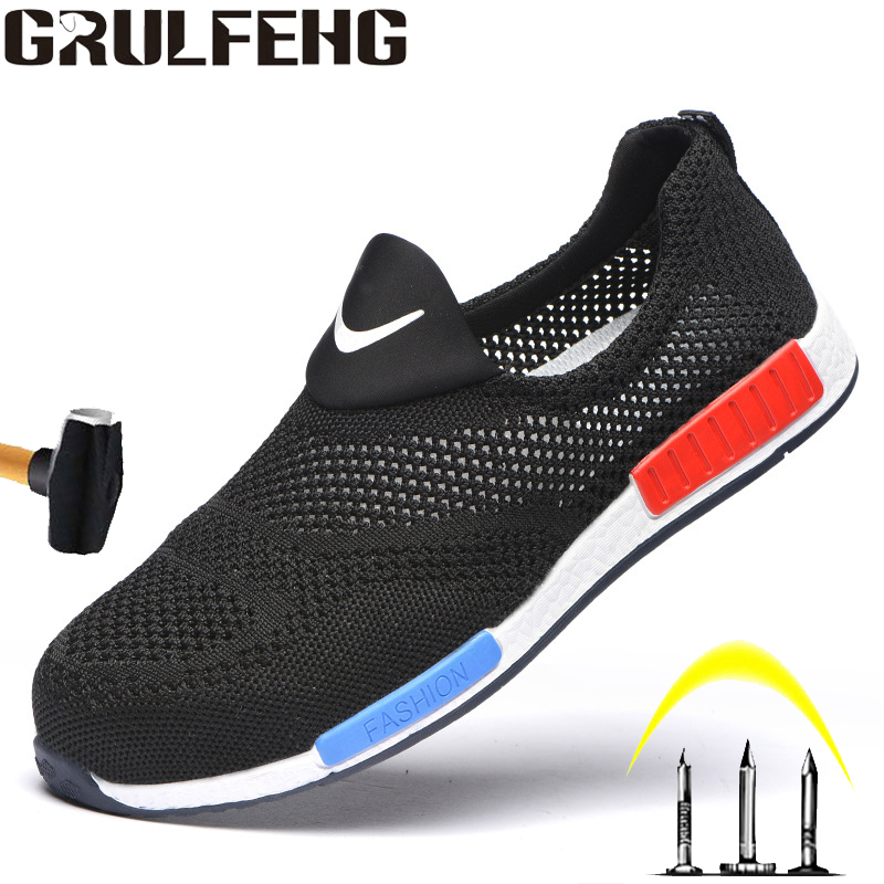 Men's And Women's Summer Lightweight Breathable Work Shoes Steel Toe Cap Soft Bottom Anti-smashing Anti-stab Work Safety Shoes