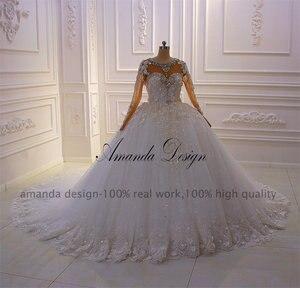 Image 5 - アマンダデザイン新デザイン長袖ラインストーンクリスタルフルスリーブ 3 D の花のウェディングドレス