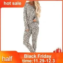 Women Tracksuit Pants-Sets Lounge-Wear Leopard-Print Wearing Home for 2pcs Casual