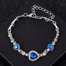 2020 nova moda coreana jóias de cristal coração charme pulseiras & pulseiras pulseiras azul strass pulseiras para mulher