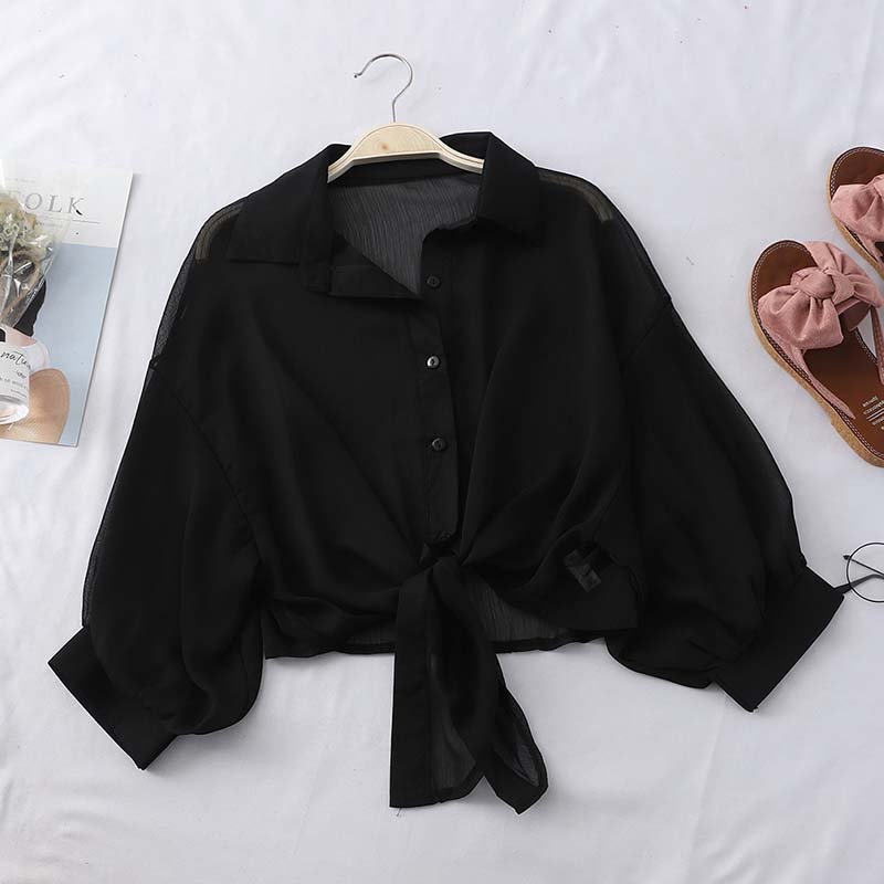 Heliar Black Chiffon Shirts Women Blouse With Buttons V-Neck Tied Up Tribal Blouse Short Office Lady Shirts Women 2020 Summer