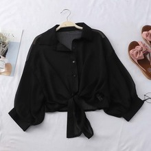 Heliar Black Chiffon Shirts Women Blouse With Buttons V-Neck Tied Up Tribal Blou