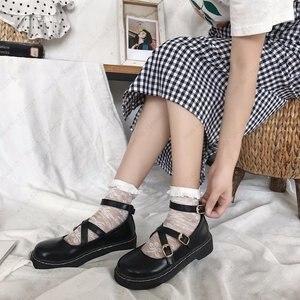 Image 3 - 일본식 로리타 카와이 여자 학교 신발 JK 유니폼 Cos 아카데미 벨트 버클 가죽 신발 공주 애니메이션 코스프레 Coatumes