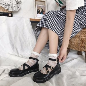 Image 3 - יפני סגנון לוליטה Kawaii נשים בית ספר נעלי JK אחיד Cos אקדמיה חגורת אבזם עור נעלי נסיכת אנימה קוספליי Coatumes