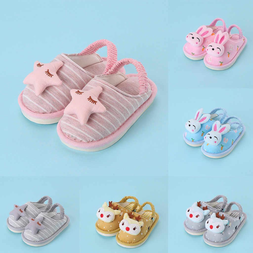 MUQGEW 2019 חדש סגנון פסים כפכפים פעוט תינוק בני בנות חמוד Cartoon כוכב ארנב נעלי סתיו חם בשקופיות נעלי הבית