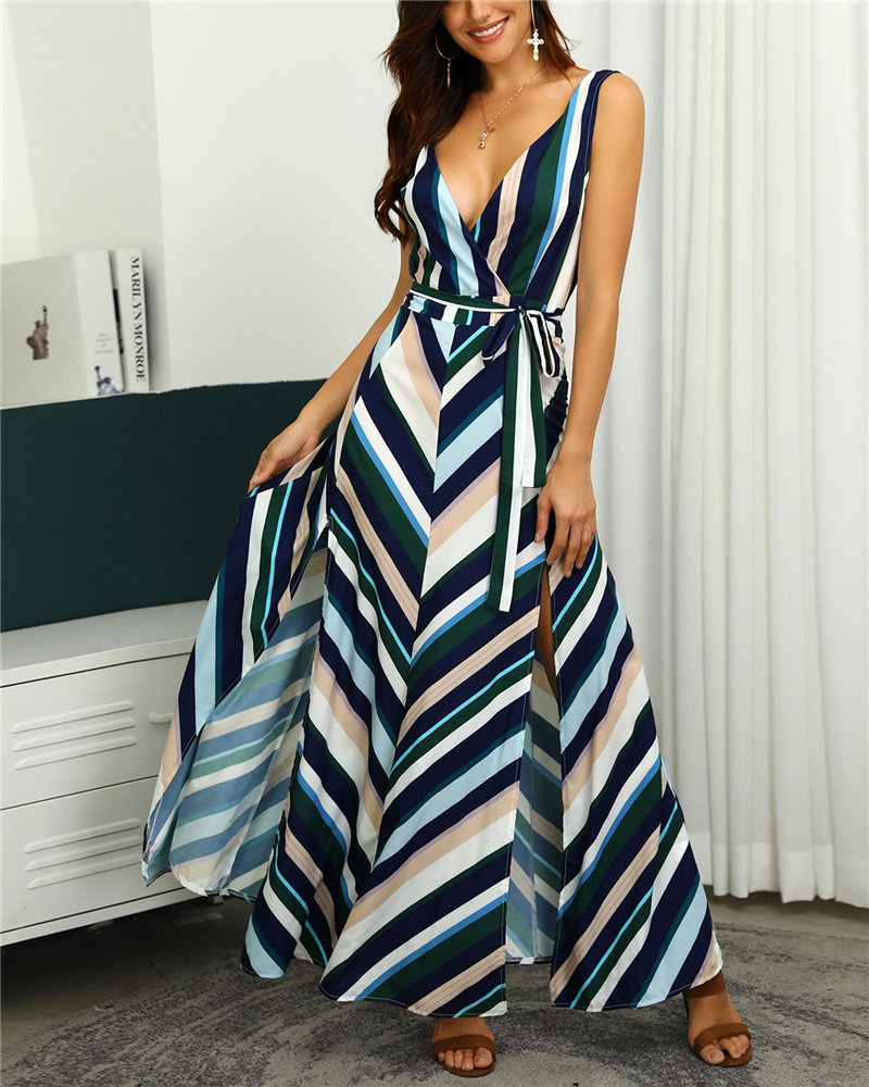 New Women Fashion Chevron Stripes Backless Belted Slit Casual Maxi Dress Elegant Wrapped Sleeveless Side Slit Long Party Dress