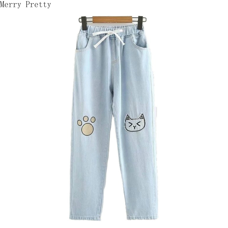 Women Cartoon Cat Embroidery Jeans 2020 Spring Fashion Elastic Waist Denim Jeans With Pockets Female Loose Pants Outwear Bottom