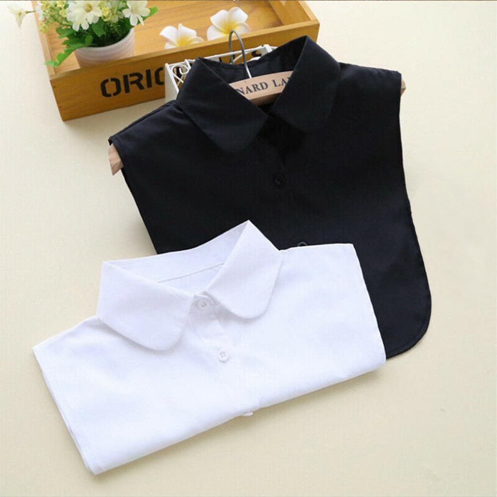 Shirt Fake Collar Vintage Solid White Black Tie Detachable Collar Lapel Dickie False Collar Removable Women Clothes Accessories
