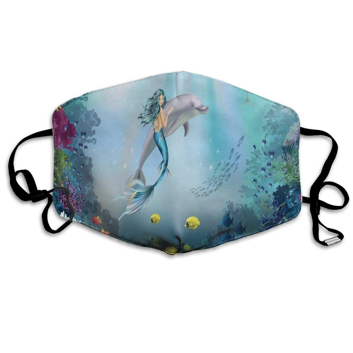 Mermaid And Dolphins Personalized Dust Mouth Mask Reusable Anti-Dust Face Mask Adjustable Earloop Skin Protection