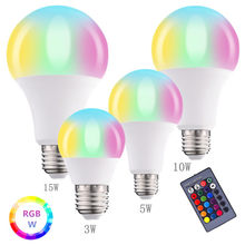 A mudança da cor 85-265v do diodo emissor de luz da lâmpada 85-pode ser escurecido com o controlador remoto para a festa da barra da casa lâmpada branca 3w 5w 10w 15w do rgb esperto