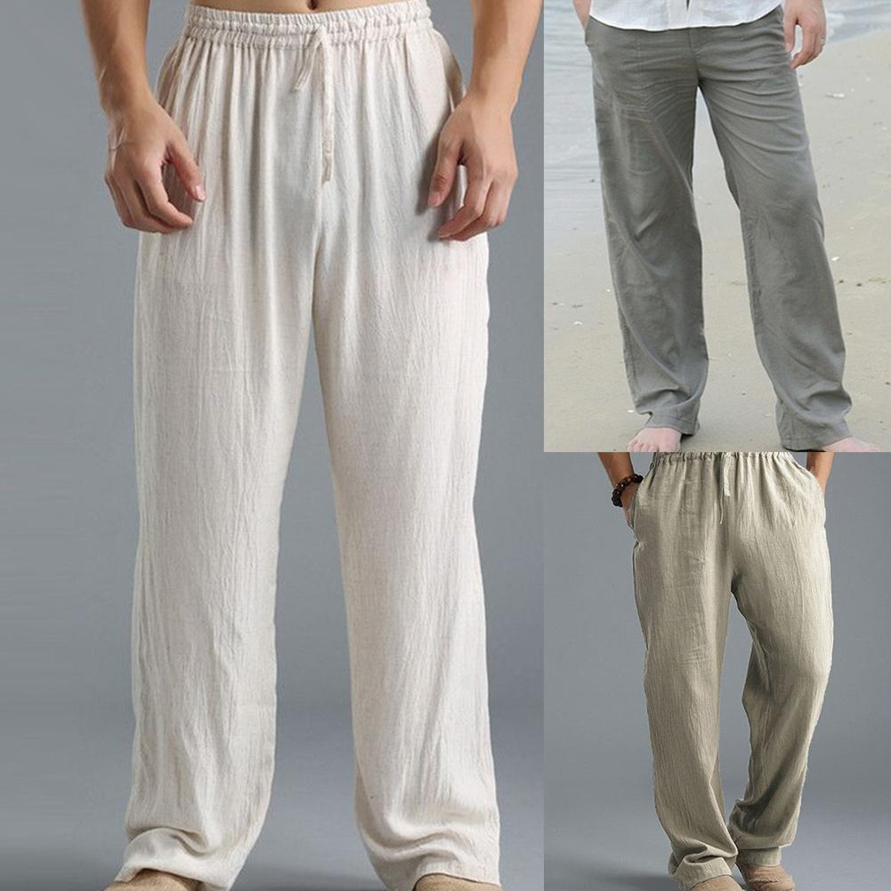 Casual Harem Men pants Male Solid Elastic Waist Straight Loose Pants Washed cotton breathable casual sports trousers linen Pants