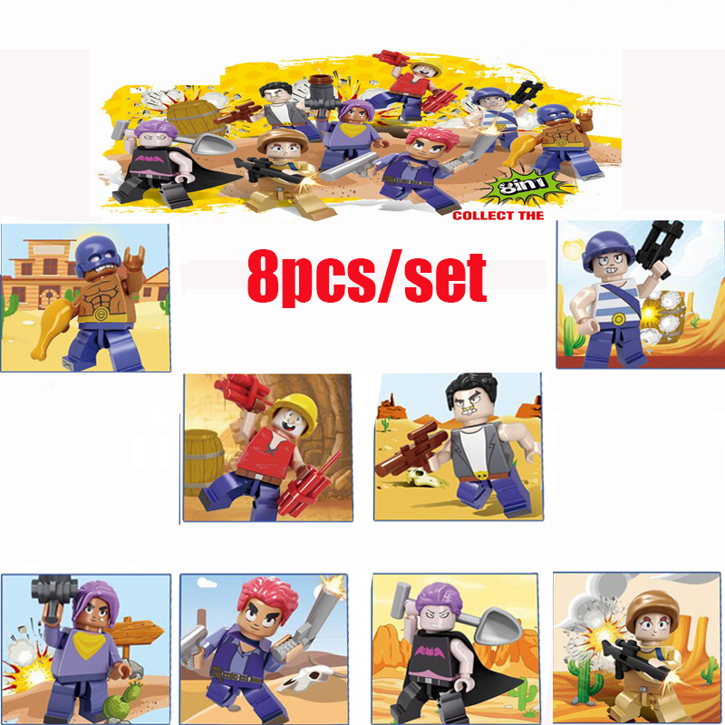 8 Pcs/lot Brawls Game Figures Star Battle Scene Doll Anime Model Compatible Building Blocks Bricks Classic Kids Toys
