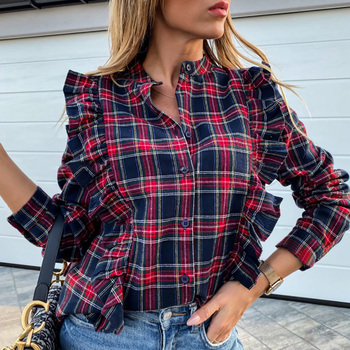 Spring New Ruffle Plaid Blouses Women Casual Vintage Long Sleeve Button Down Shirts Office Ladies Girls Chic Tops  Blusas  D30 new plus size women tops blouses long sleeve button turn down collar contrast color spring autumn casual ladies shirts blusas