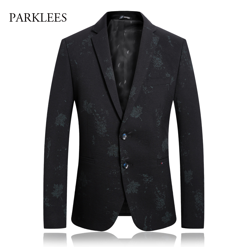 Mens Black Leaf Blazer Jacket 2019 Brand New Single Breasted Two Button Suit Blazer Men Party Wedding Prom Stage Costumes 4XL
