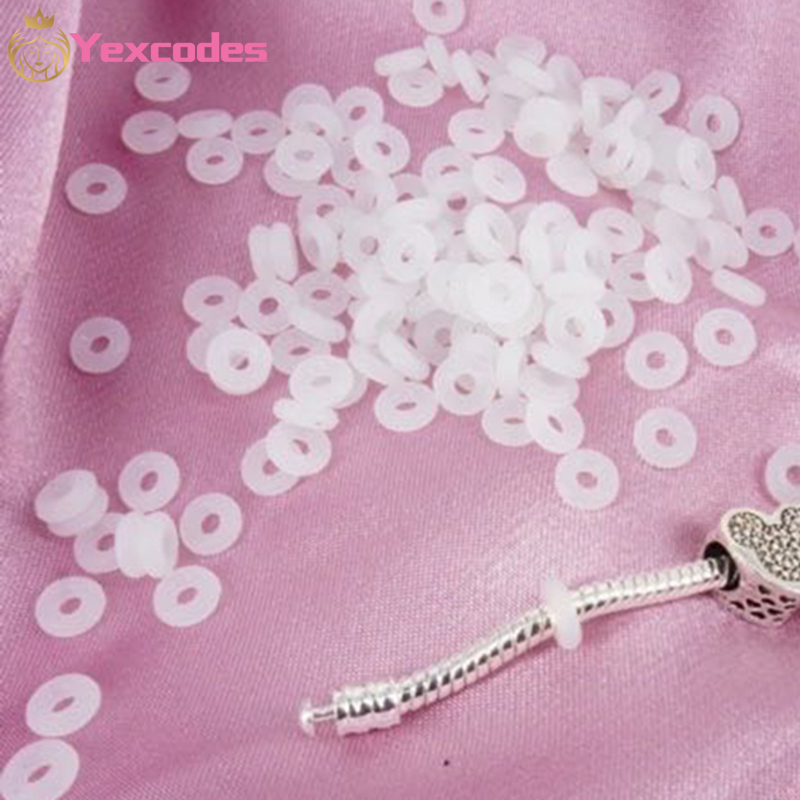 White Rubber Clip Charms Safety Stopper Beads Silicone safety non slip hose Fits Original Brand Charm Bracelets Accessories|Beads|   - AliExpress