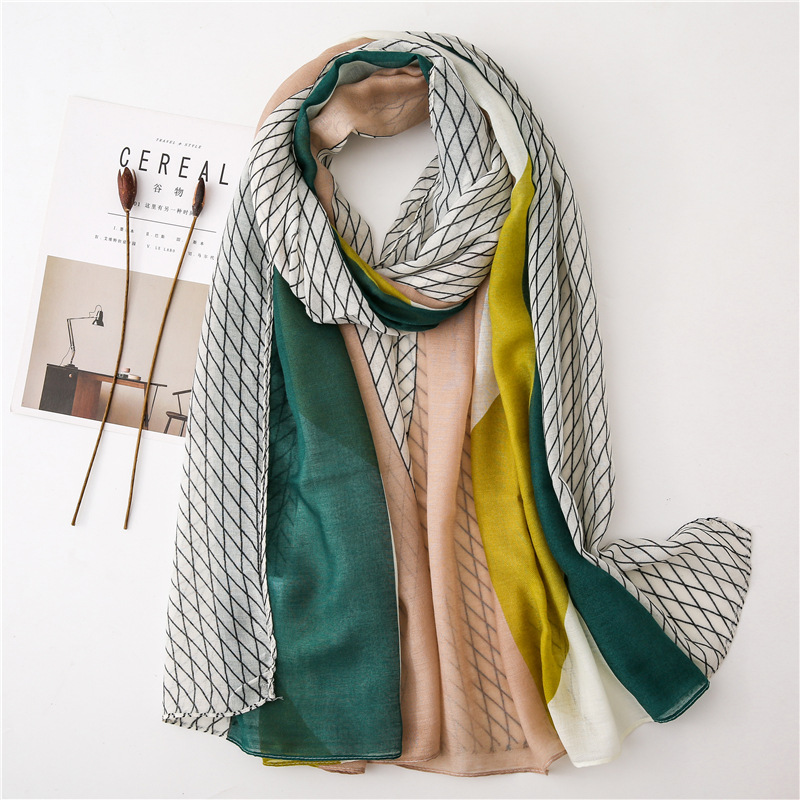 2019 Women Fashion Ombre Plaid Viscose Shawl   Scarf   High Quality Long Echarpe Foulards Femme Bufandas Mujer Muslim Hijab 180*90Cm