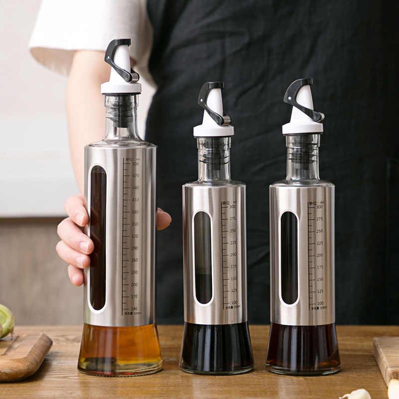 500/300 Ml Keuken Glazen Olie Fles Roestvrij Staal Lekvrije Sojasaus Azijn Cruet Opslag Dispenser Nuttig keuken Gereedschap