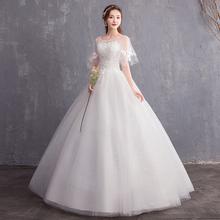 Suknie ślubne nowe suknie ślubne koronkowe suknie ślubne Bridage suknie balowe suknie Vestido De Novia tanie tanio Lifeglad O-neck Krótki Koronki NONE Długość podłogi Lace up REGULAR Aplikacje Haft Illusion LF fs750 Księżniczka