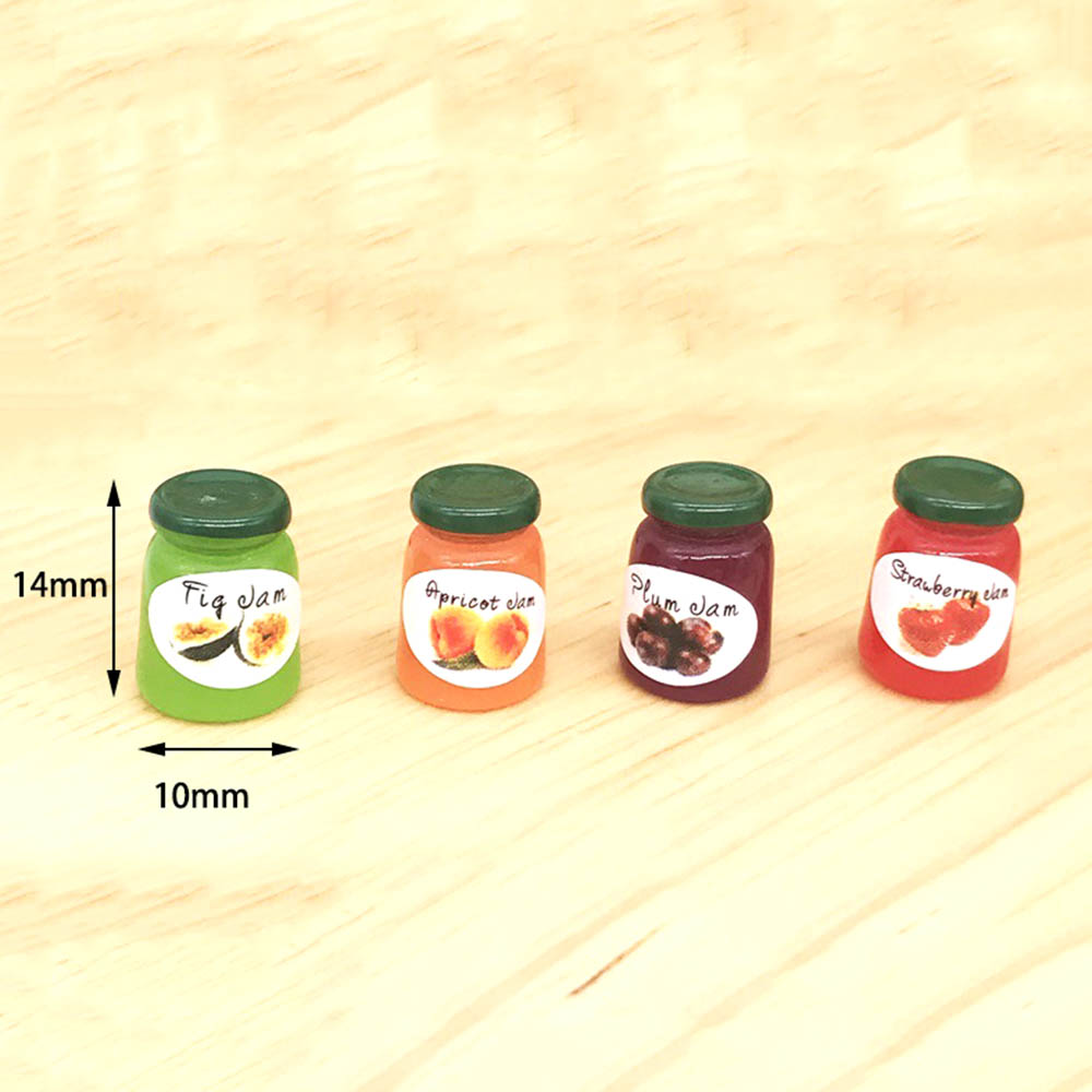 4pcs 1:12 Dollhouse Miniature Jam Coffee Food Doll House Kitchen Furniture Decor