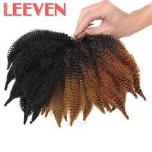 Leeven 8 дюймов марли косы волосы мягкие афро курчавые кубинские твист волосы синтетические крючком волосы для женщин Черный Коричневый Плетение Волос