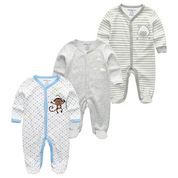 0-12Months Baby Rompers Newborn Girls&Boys 100%Cotton Clothes of Long Sheeve 1/2/3Piece Infant Clothing Pajamas Overalls Cheap - Baby Rompers RFL3703, 9M
