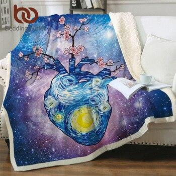 BeddingOutlet Heart Blanket Starry Sky Throw Blankets For Bed Plum Flower Watercolor Fluffy Sherpa Blanket GalaxyCustom Blanket
