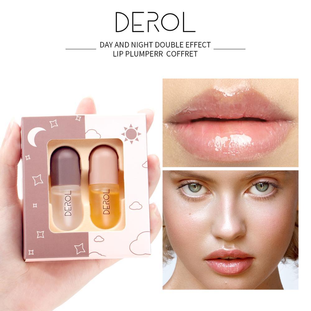 DEROL 5.5mlx2 Day Night Volumising Lips Plumper Lip Fine Lines Mask Wholesale Moisturizer Care Lip Oil Sexy Plump Serum
