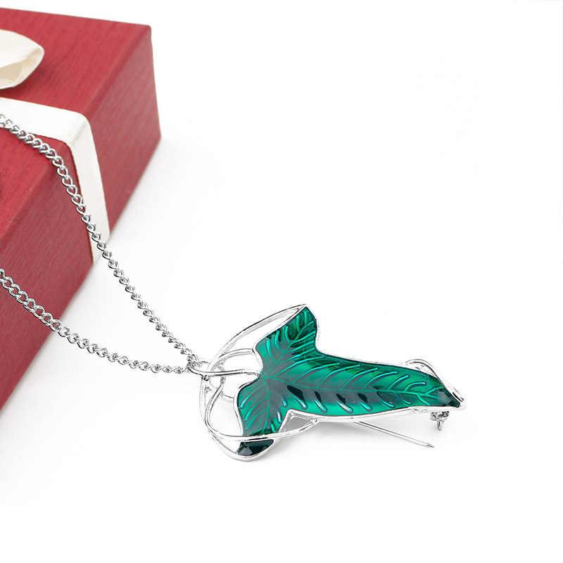 ההוביט בציר Elf ירוק עלה תליון שרשרת פין נשים גבר תכשיטי הצהרת אביזרי Bijoux Femme Collares Bisuteria