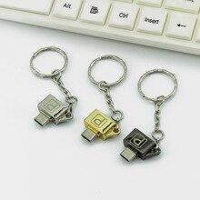 Металлический адаптер типа OTG-c к micro USB с цепной пряжкой Android мобильный телефон тип-c USB 2,0 адаптер конвертер для huawei xiaomi