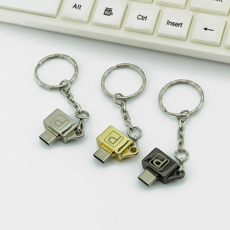 Metal OTG Adapter Type-c To Micro USB With Chain Buckle Android Mobile Phone Type-C USB 2.0 Adapter Converter For Huawei Xiaomi