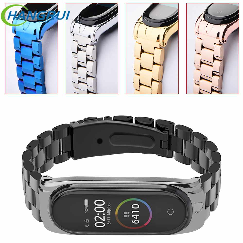 Stainless Steel Mi Band 4 Strap Smart Watchband For XiaoMi Mi Band 4 3 Band3 Metal Wrist Bracelet Band For XiaoMi Mi Band 2 Mi4