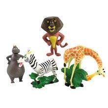 4 pçs/set 7-8 centímetros Animal Figura PVC Brinquedos Alex Leão Madagascar Zebra Marty Hipopótamo Gloria Melman Girafa Bonito Boneca Modelo