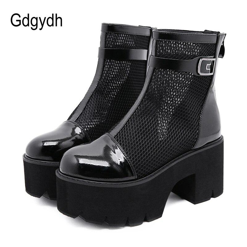 Gdgydh-Botas cortas góticas de charol para mujer, botines de malla de aire mezclado, con plataforma calada, color negro, 2020