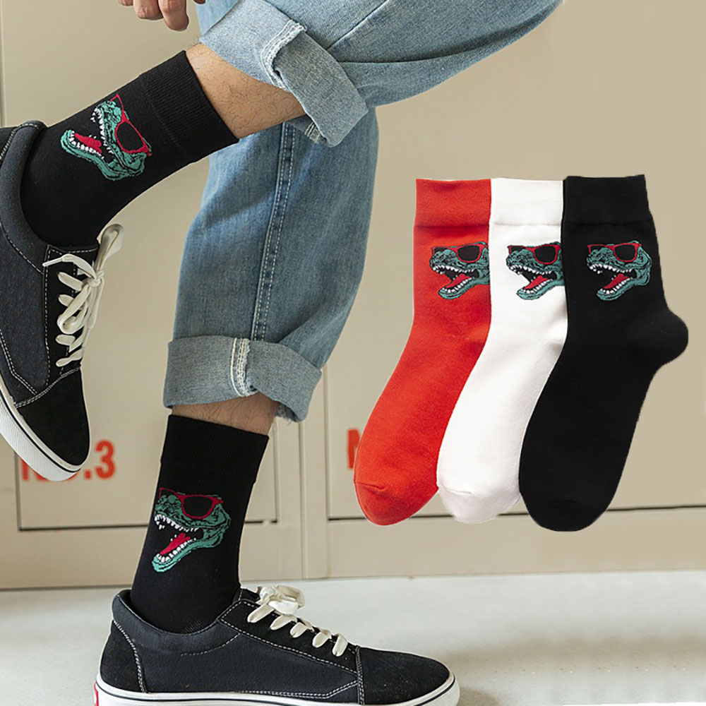 New Men Women Unisex Couple Animal Crocodile Dinosaur Embroidery Print Socks Cartoon Happy Kawaii Funny Socks