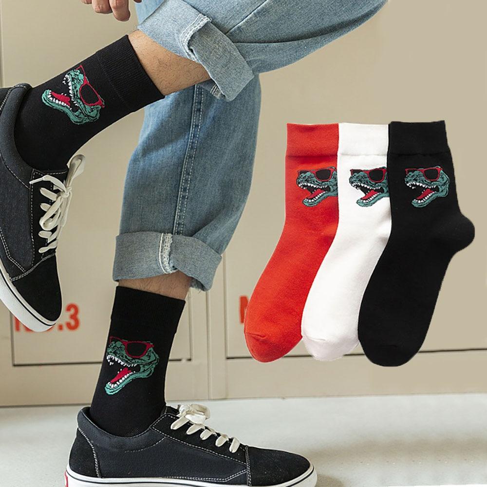 New Men Women Unisex Couple Animal Crocodile Dinosaur Embroidery Print Socks Cartoon Happy Kawaii Funny Socks