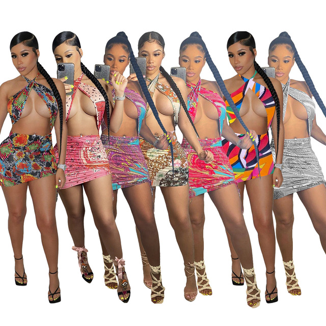 ANJAMANOR Sexy Print Summer Dress 2021 Club Outfits for Women Cut Out Cross Halter Backless Mini Bodycon Dresses D7-CA15 6