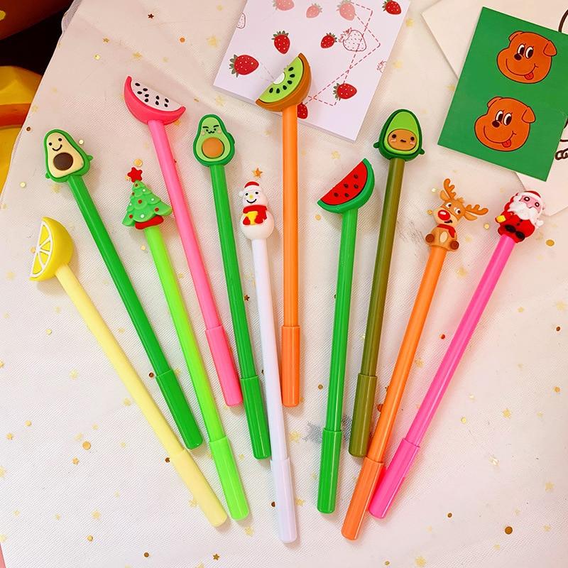 12Pcs/Bag Christmas Pens Cute Tree Cartoon Gel Pen Kawaii Black Ink Color Pen Korean 0.5 Mm Gel Pencils Office School Stationery