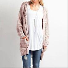 Women's cardigan 2020 spring autumn winter new medium long large solid color pocket sweater women's twist knitting