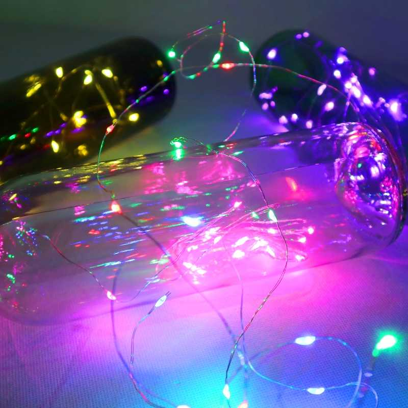 Luces LED para botellas de vino de 2M, 20LEDs en forma de corcho, Mini tira de luces de colores de cobre para interiores, exteriores, bodas, navidad